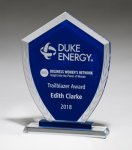 Shield-Shaped Glass Award with Blue Center and Etched Laurel Wreath Achievement Awards
