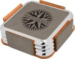 Leatherette Square Coaster Set with Silver Edge -Gray  Misc. Gift Awards