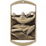Dog Tag Medals -Lamp of Knowledge Scholastic Trophy Awards